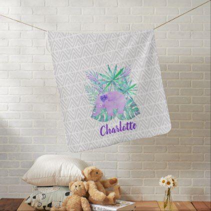 Watercolor Elephant Jungle Shibori Primitive Stroller Blanket - girly gifts special unique gift idea custom