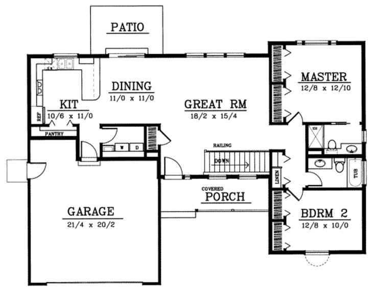 Traditional Style House Plan - 2 Beds 2 Baths 1288 Sq/Ft Plan #93-102 Floor Plan - Main Floor Plan - Houseplans.com