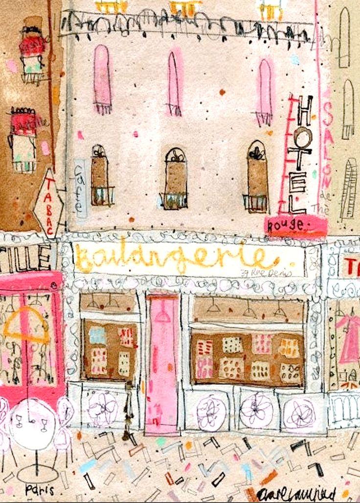 Boulangerie Paris by Clare Caulfield, printmaker