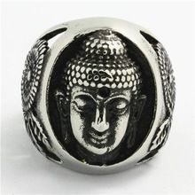 Mens Boys 316L Punk Gothic Buddha head Ring - Hollow Out Flower Cool