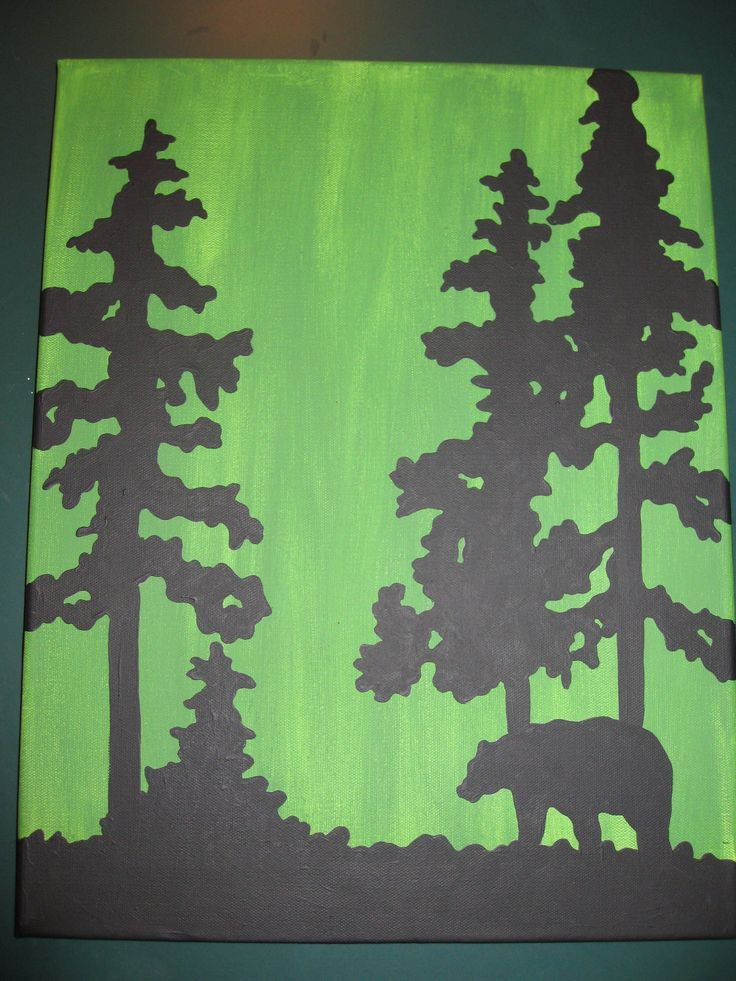 bear silhouette painting
