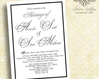 Scroll Wedding Invitations Black And White By LovableInvitations