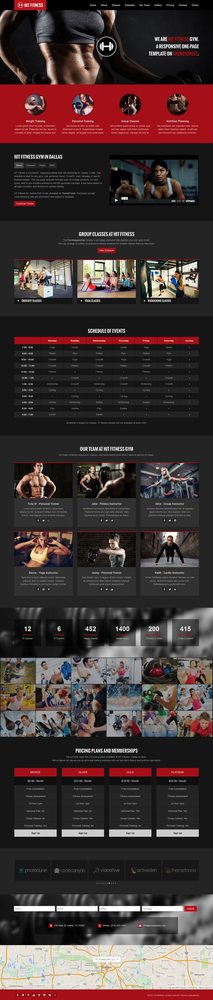 HIT Fitness & Gym One Page Joomla Theme available on ThemeForest. #webdesign #inspiration #responsive #gym #crossfit #mma #workout #exercise #personaltrainer