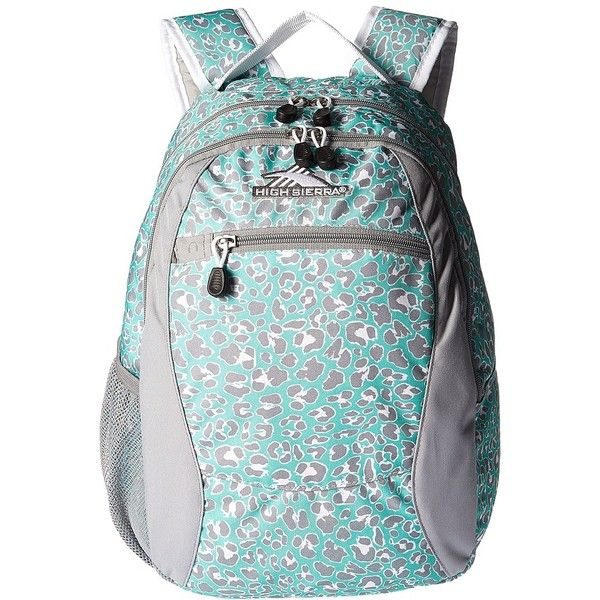 High Sierra Curve Backpack (Mint Leopard/Ash/White) Backpack Bags ($25) ❤ liked on Polyvore featuring bags, backpacks, logo backpacks, high sierra, zip bag, high sierra backpack and high sierra daypack