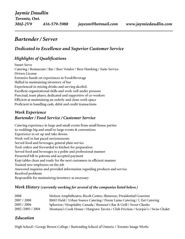 Server Resume Example. 21 Best Samples Of Resume For Bartender