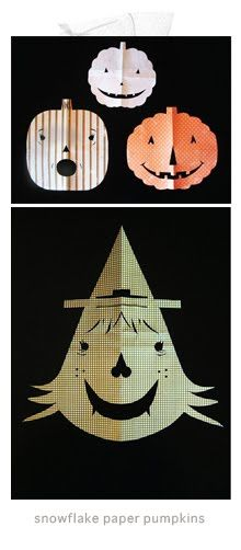 """Craft idea: paper pumpkins using the """"snowflake"""" method. Could even be cute strung up on a DIY garland."""