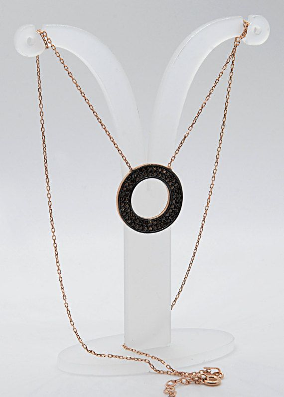 Black Circle Necklace 925k Silver Necklace Black by TheJewellander