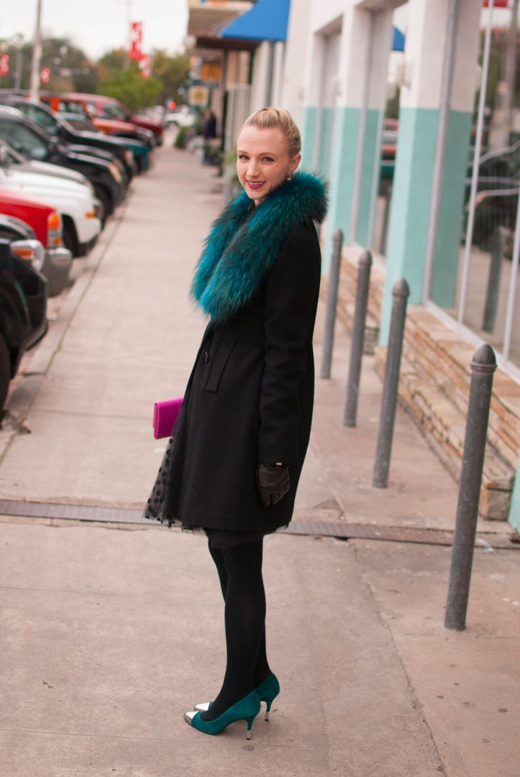 teal fur stole, polka dot tulle skirt, black tights and teal suede heels