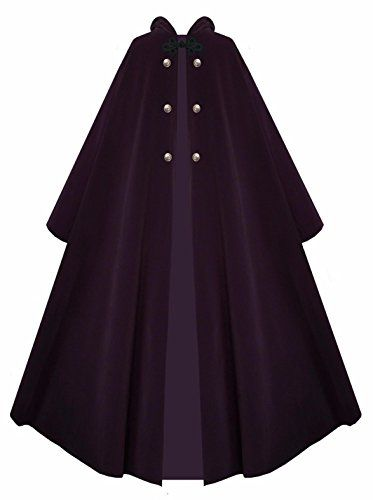 New Trending Outerwear: Victorian Vagabond Hooded Steampunk Gothic Medieval Cape Cloak (Purple). Special Offer: $89.00 amazon.com Made Entirely of Outerwear Weighted Velour, with Reproduction Antiqued Brass ButtonsUnlined – Lightweight Enough for All Year RoundSuitable for Men or Womenery Versatile – Can be Used for Many Occasions. Generous Yards and Yards of Fabric Look...