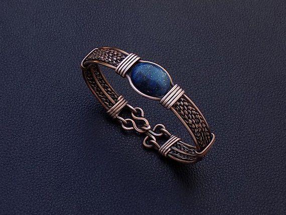 Lapis Lazuli Men Bracelet,Lapis copper men bracelet,Men's Jewelry,Mens bracelet,Lapis men Bracelet,Husband gift,Men's Lapis copper bracelets