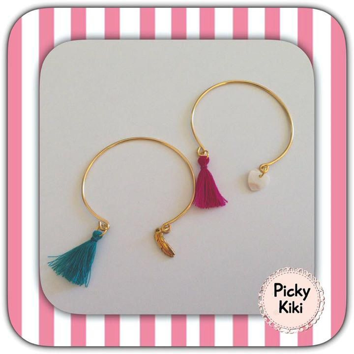 Handmade bracelets with golden rods, a heart from ivory and a decorative tassel in many colors | Fall-Winter Collection 2015-'16 | Picky Kiki Accessories