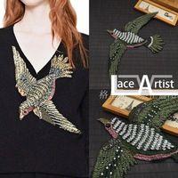 1 шт. роскошный изысканный птица бисером драгоценности свитер/пальто/джинсовой декоративные аксессуары, вышивка аппликация патчи для одежды