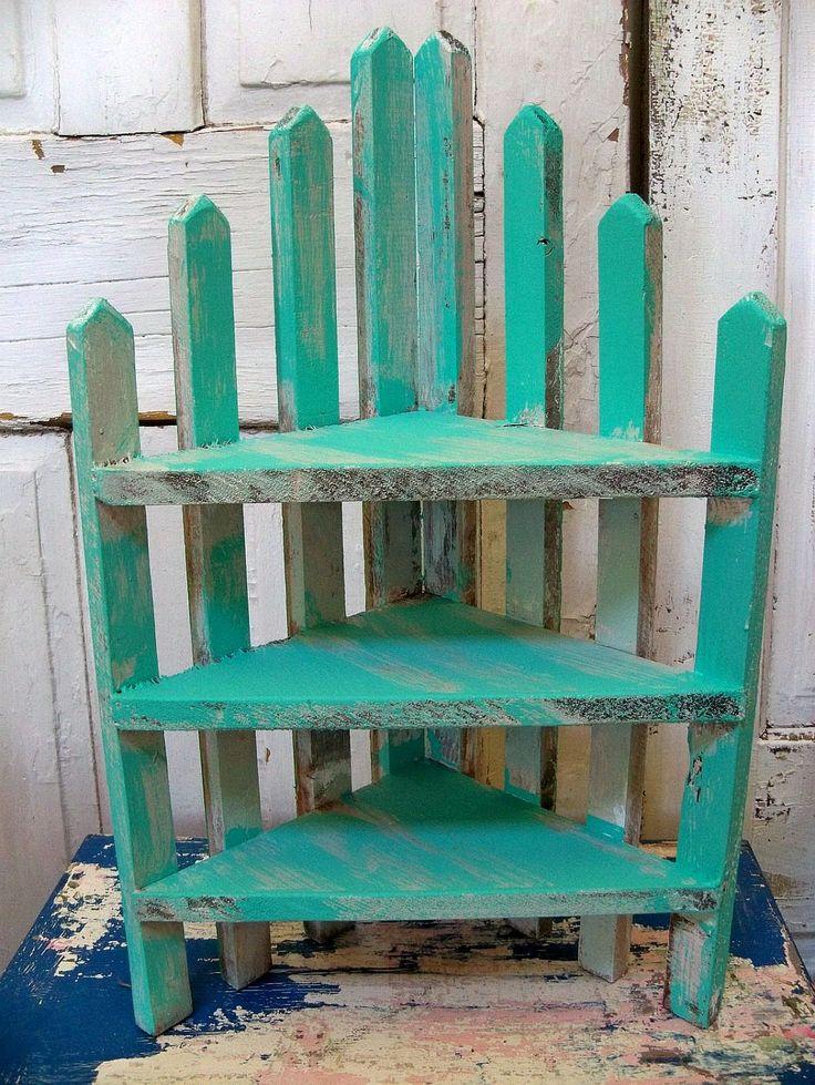 Handmade recycled wood aqua picket fence style corner shelf- farmhouse turquoise decor