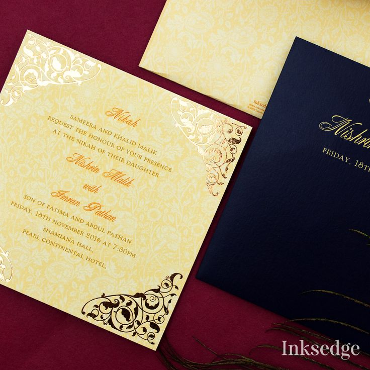how to write muslim wedding invitation card%0A Add a golden touch to your wedding