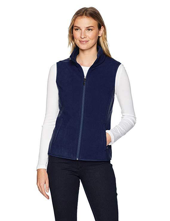amazon essentials women s standard full zip polar fleece vest navy