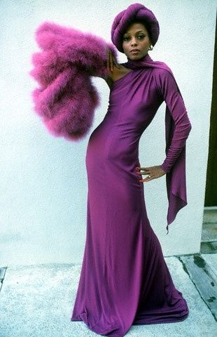 Diana Ross in purple and a turban