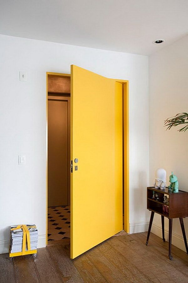 40 Gorgeous Yellow Aesthetic Room Decor Ideas Light up a dull living room by working yellow into the palette. This warm, adaptable shading includes a moment beam of daylight to any space and is anything but difficult [Continue Read] Yellow Interior, Interior Paint Colors, Home Interior, Interior Design, Interior Door, Brown Interior, Interior Painting, Bohemian Interior, Yellow Doors