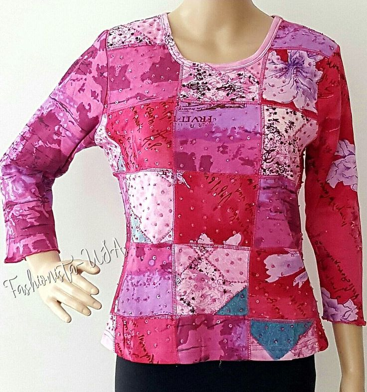 ZASHI Women's Top Size S Sleeve-3/4 Printed w/Pink Sequin & Beads Pull Over  #ZASHI #PULLOVER #Casual