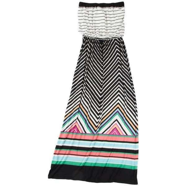 Wrapper Striped Tube Top Maxi Dress ($32) ❤ liked on Polyvore