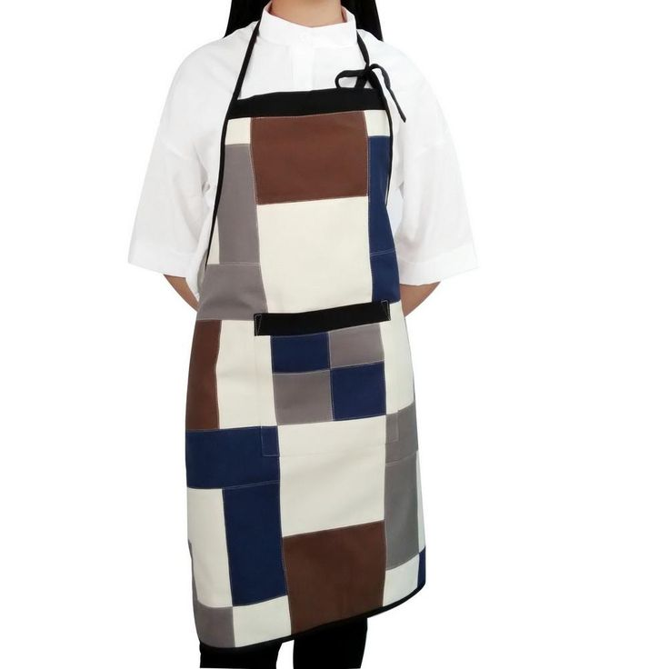 [Dark Lines] Patchwork Chef Work Apron Durable Women Men Apron with Pocket