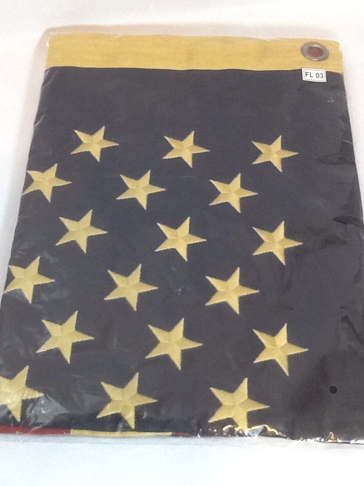 Tea Stained Cotton 50 State American Flag - Large 3' x 5'   Primitive Antiqued