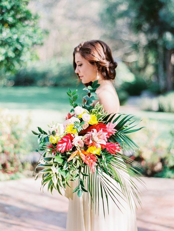 tropical bouquet - photo by Angelica Chang Photography http://ruffledblog.com/hawaiian-garden-wedding-inspiration