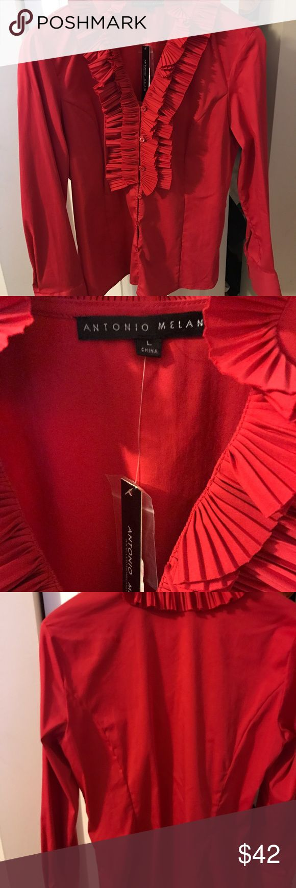 Antonio Melani shirt will look so feminine on. Never worn Antonio Melani shirt... ANTONIO MELANI Tops Blouses