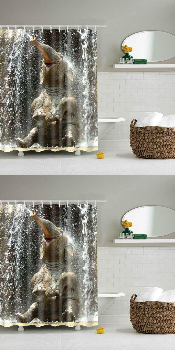 3D Elephant Pattern Bathroom Waterproof Shower Curtain