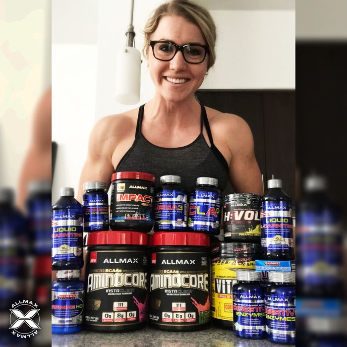 Christmas arrived early for #TeamALLMAX athlete Ashley Wiens who received her #ALLMAX product stack favorites! At the forefront is our new pre-workout #IMPACTIgniter in Blue Raspberry flavor and the new BCAA flavors in #AMINOCORE Watermelon Candy and Pink Lemonade!