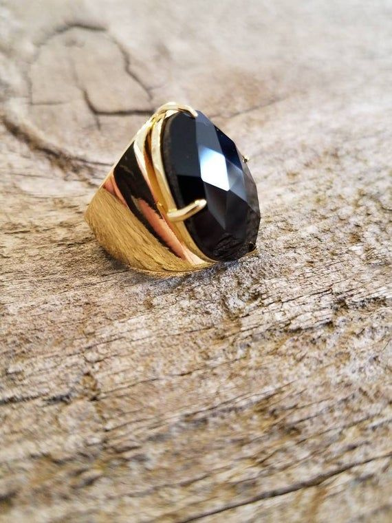 Faceted Black Agate Ring