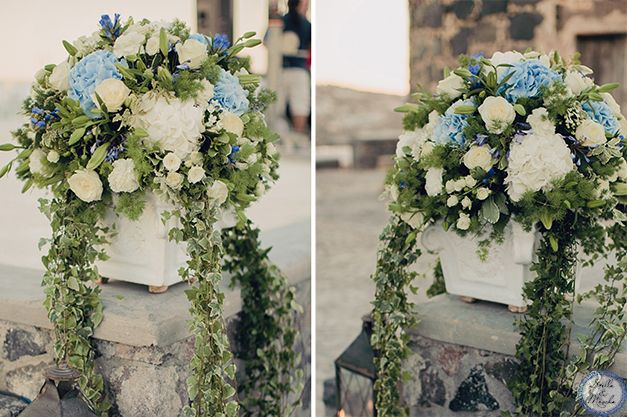 Wedding Centerpiece | Santorini Wedding by Stella and Moscha - Exclusive Greek Island Weddings | Photo by Anna Roussos | http://www.stellaandmoscha.com/wedding-photos/private-villa-wedding/ #blue hydrangeas