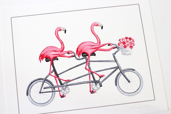 Lovely prints of pink flamingos on tandem bicycle. Perfect wall art for kids room or nursery or for you or for a flamingo lover! Original drawing