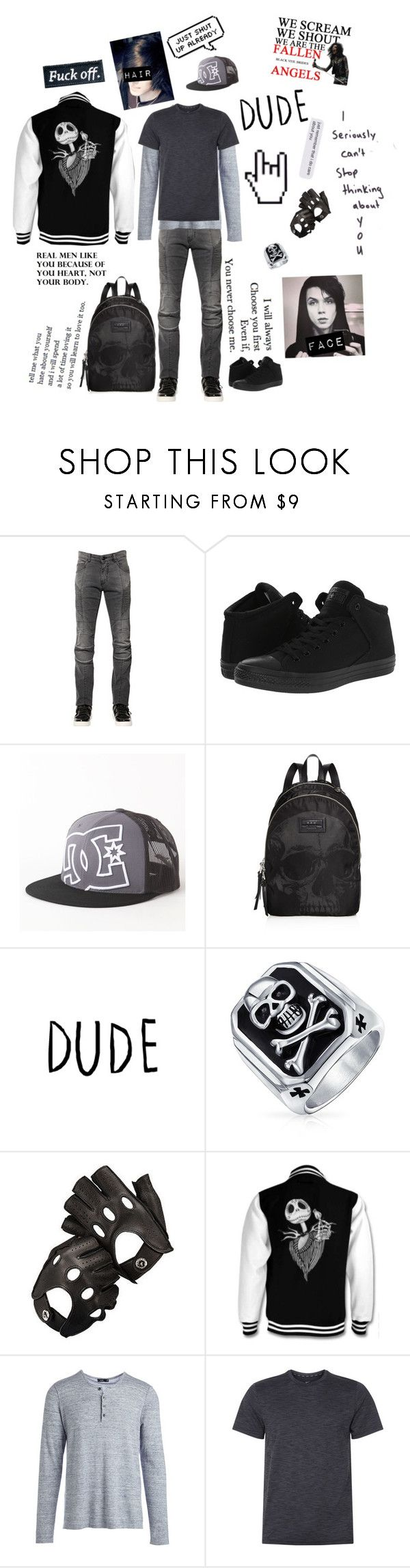 """Untitled #42"" by literaldisaster ❤ liked on Polyvore featuring Pierre Balmain, Converse, DC Shoes, John Varvatos * U.S.A., Bling Jewelry, Aspinal of London, Vince, NIKE, men's fashion and menswear"