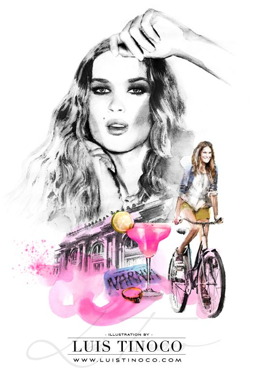 "MAYBELLINE NYC GUIDE 2014 ""BCKSTG"" Erin Wasson Portrait ILLUSTRATION by LUIS TINOCO http://www.luistinoco.com/"