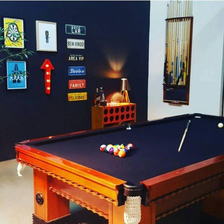 A sala de jogos da @_anadecora não ficou o máximo com a nossa Adega Bar Charme? Mesa de sinuca e adega!