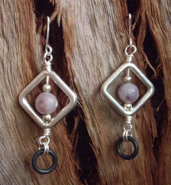 Trendy Purlesque Earrings  Handmade with Lilac by BrigittesJewels, $22.00