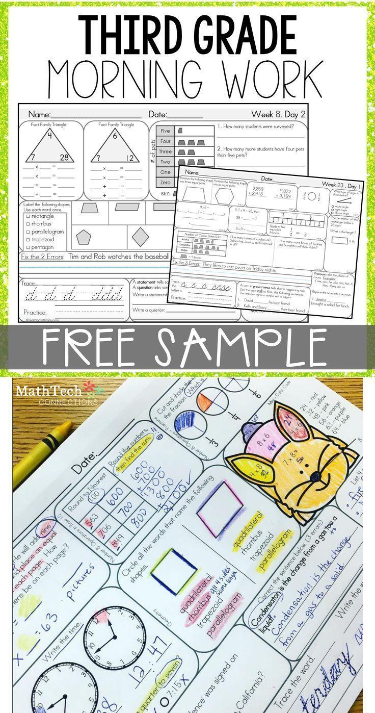 3rd Grade Morning Work Free Sample Math Morning Work 3rd Grade Math Third Grade Morning Work