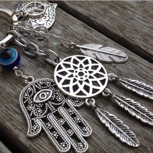 Dream Catcher Symbol Keychain-DreamCatcher Evil Eye Hamsa Hand Heart Peace Keychain Keyring