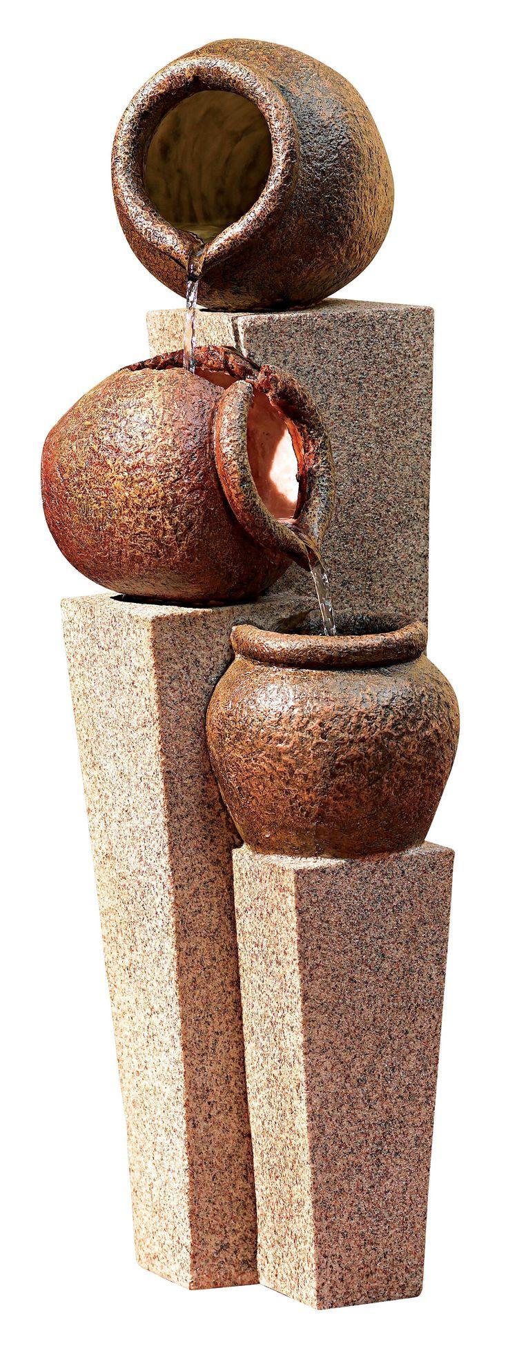 Three Urn and Pillar Cascade Outdoor/Indoor Fountain -
