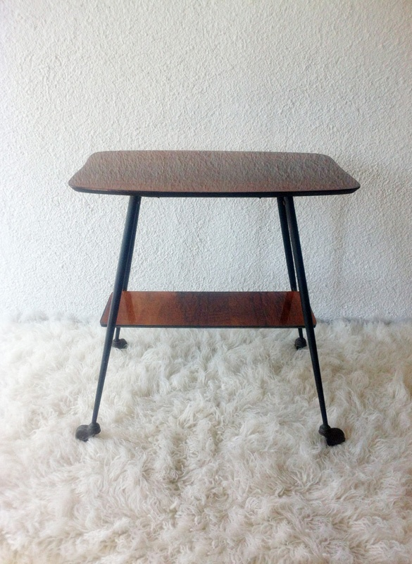 ancient French TV table with black iron legs