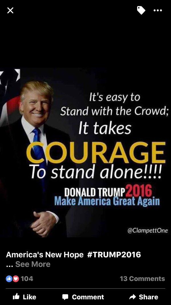 He's taking the hits for us. Stand and show your support for him.  Vote Trump for President!