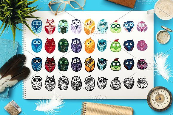 Nice Owls Set by barsrsind on @creativemarket