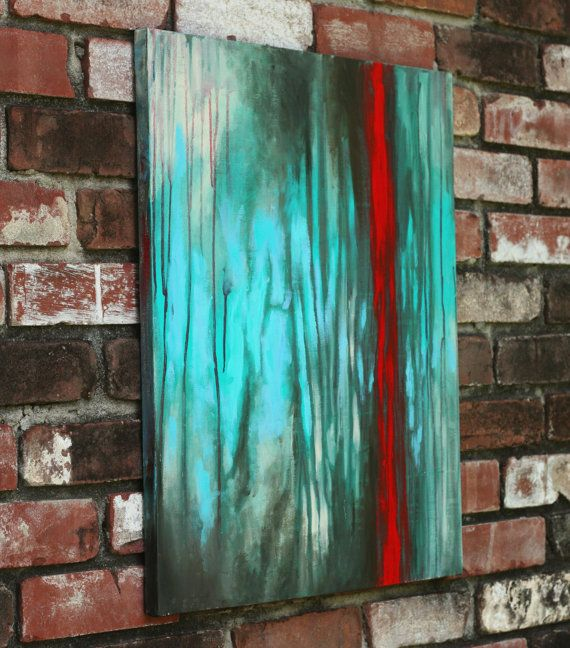 Original Modern Abstract Painting Acrylic Painting in teal, red, and gray on Etsy, $189.00