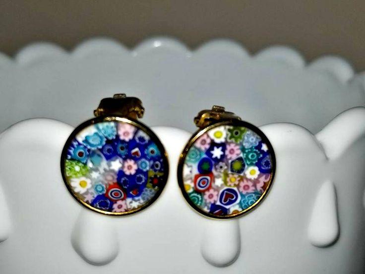 Vintage Millefiori Clip on Earrings, Venetian Glass Earrings, 925 Sterling, Gold Tone, Wedding Bouquet, Venice, Murano Style, Italy, 1960s http://etsy.me/2o5WOF1 #jewelry #earrings #circle #cliponearrings #vintageclipons #junkyardblonde #925sterling