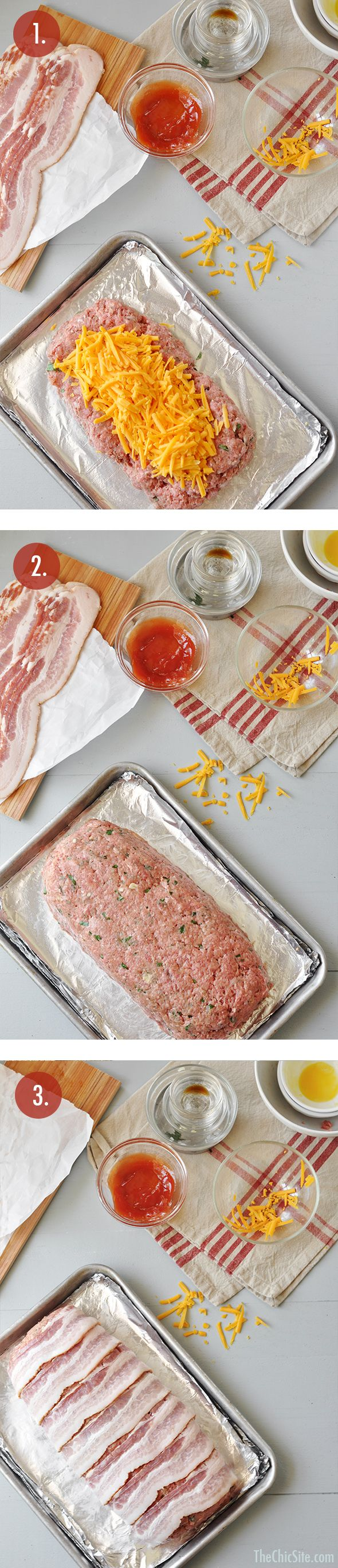 Bacon Cheeseburger Meatloaf Step by Step Dinner Recipe