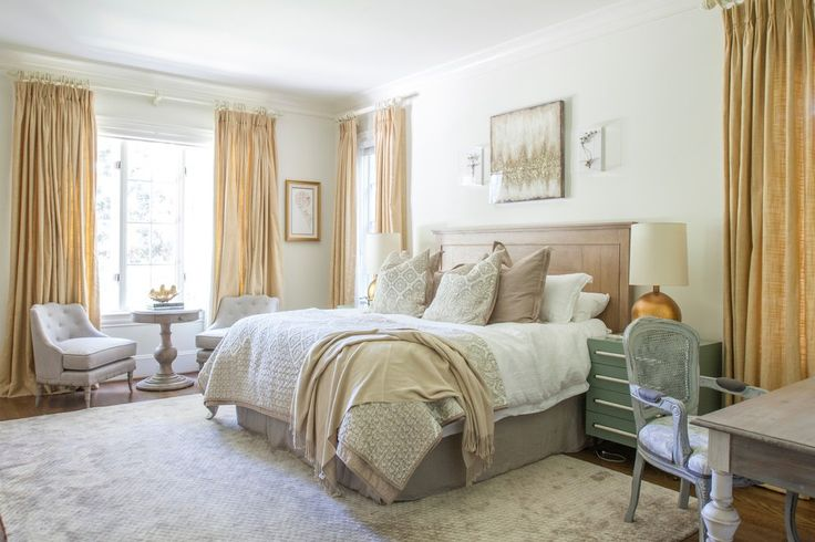 High Ceiling Curtains Shabby-chic Style Charlotte with Transitional Bedroom Benches