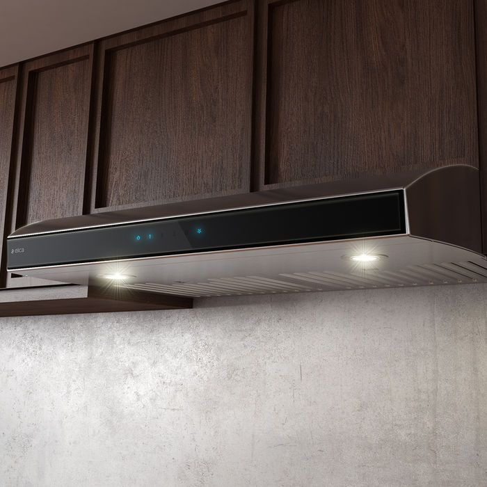 "With a compact 4 3/4"" height, Aria is an ideal choice where under-cabinet space is limited. Its upgraded 430 CFM internal blower provides sufficient ventilating power for most kitchens. Aria also offers the luxury and convenience of LED lighting with 2, microhole filters, multi-function touch controls and Hush technology which automatically reduces noise."