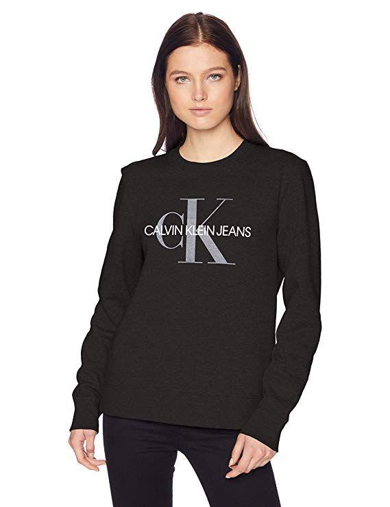 Monogram Klein Crew Women's SweatshirtBlackX Jeans Calvin Neck UpLMzVSGjq