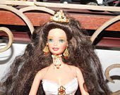 Barbie Holiday Brunette Barbie 1997 with Crown, Princess Barbie, Barbie Doll, Vintage Barbie Doll, Vintage Dolls, **