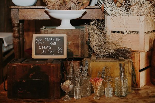 Rustic Sparkler Bar Wedding styling by Make Your Day makeyourdayweddingstyling.com.au Suzanne & Jeng
